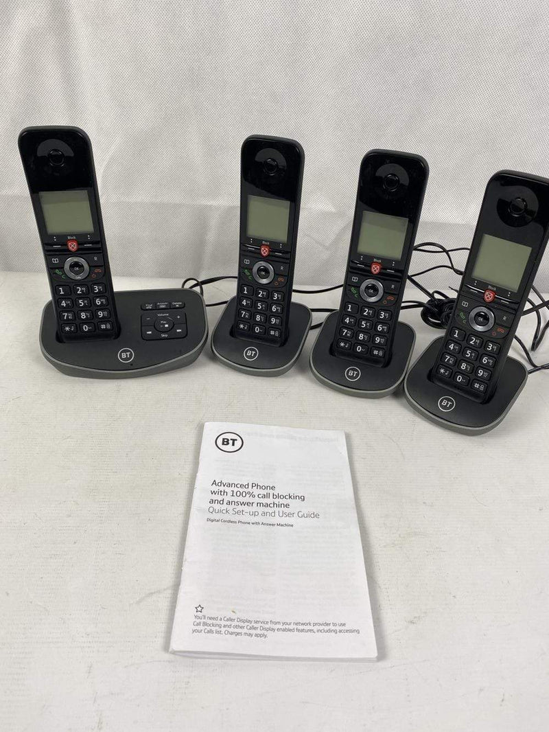 BT Cordless Home Telephone BT Advanced Cordless Home Phone - Quad Handset Pack, Black