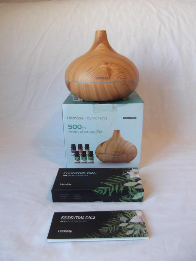 Homasy Aromatherapy Oil Diffuser Homasy 500ml Aromatherapy Oil Diffuser with 6Pcs*10ml Pure Essential Oil GiftSet