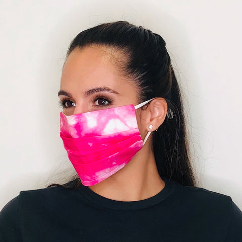 Pink Tie Dye Folds Face Mask