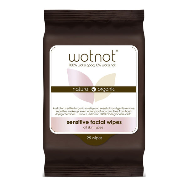 Wotnot Natural Organic Facial Wipes Sensitive All Skin Types 25s