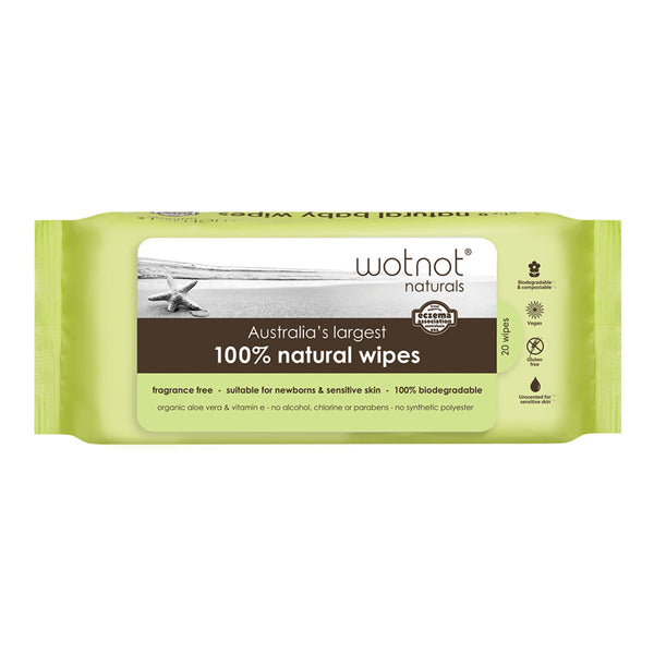 Wotnot 100% Natural Baby Wipes Refill 20s