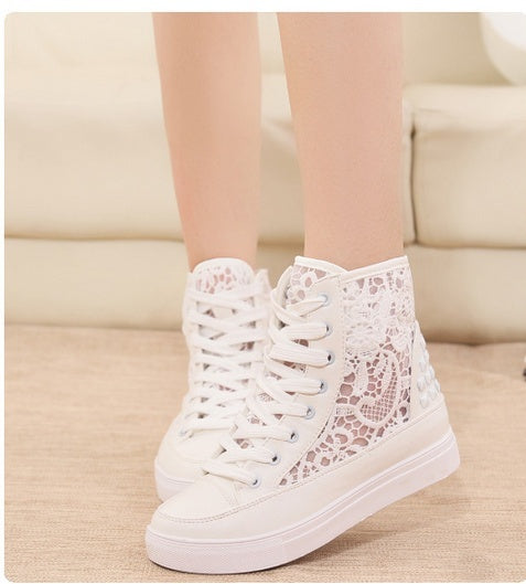 White lace breathable shoes webnet high tops casual platform women sneakers shoes