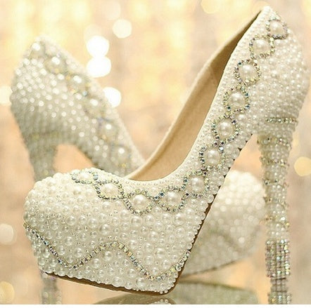 Hot new fashion 12CM Heels Women's Fashion Pearl Bridal Shoes Wedding Shoes Stiletto Heel Heels Pumps