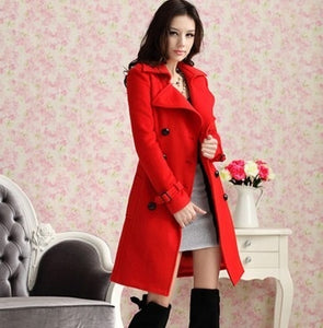 Autumn winter long red woolen women coat women wool coats bride outerwear for wedding party and special occasion