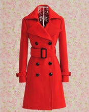 Load image into Gallery viewer, Autumn winter long red woolen women coat women wool coats bride outerwear for wedding party and special occasion