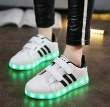 Load image into Gallery viewer, Fashion Boy Girl LED Light Up Shoes USB Shoes Kid Child High Help Shoe  Wing Shape Unisex Shoes