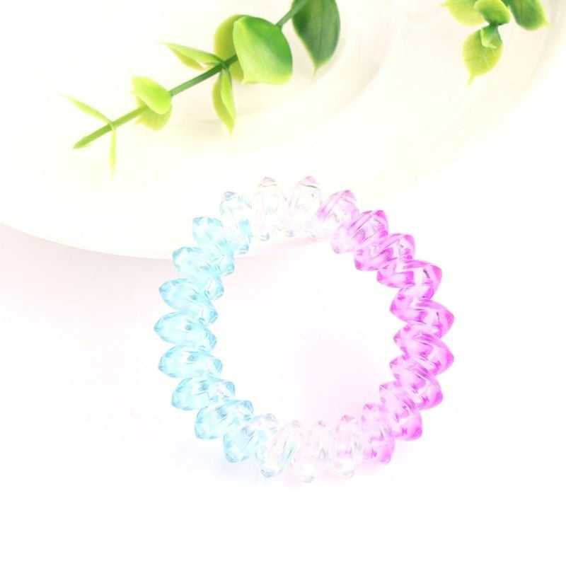 5cm Women Girls Plastic Triangle Spiral Hair Ties Rope Telephone Wire Traceless Coil Glitter Gradient Colorful Ponytail Holder Scrunchies JEF