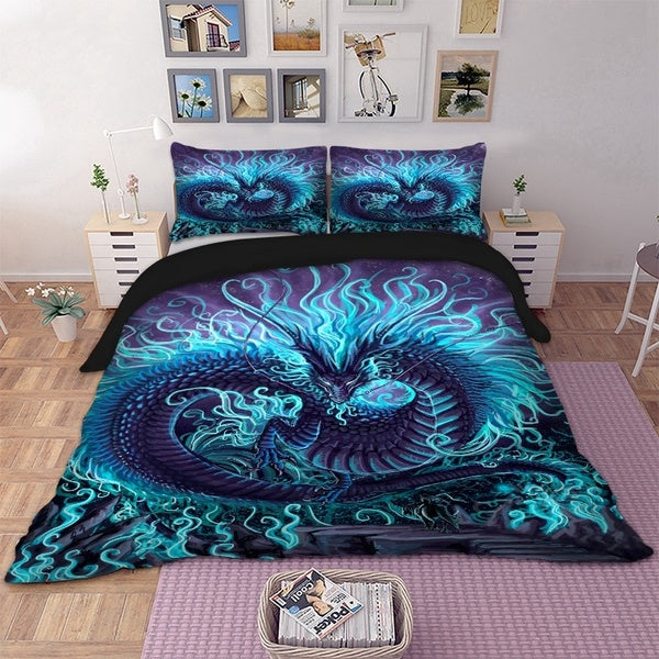 3D Printing Cool Dragon Bedding Set Animal 3pcs Duvet Cover Quilt Cover Bed Cover Pillow Cases Twin Full Queen King Super King Siz