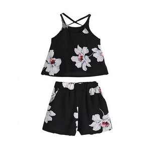 Kids Clothes Summer Clothing Sets For Girls Off Shoulder Short Sleeve T-shirts + Short Pants 2PC Print Outfits for 2-12 Years