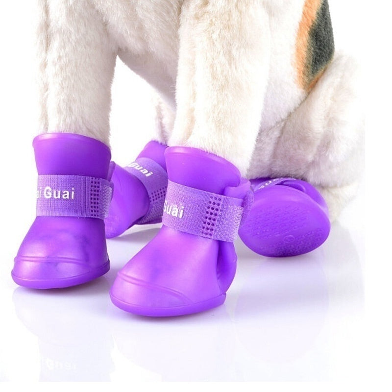 4pcs/lot Waterproof Pet Dog Shoes Anti Dirty Slip Boots For Puppy Dogs 5 Candy Colors Plastic Dog Rain Shoes Pet Supplies S-XXL