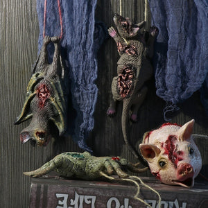1PC Horrible Halloween Hanging Props Party Scary Decoration Haunted House Decor Horror Animal Head Simulation Mouse Bat Spider Pig