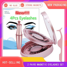 Load image into Gallery viewer, Magnetic Eyeliner Eyelashes Set Natural Thick Handmade No Glue Prevent Allergy Magnetic Fake Eyelashes With Eyelashes Applicator