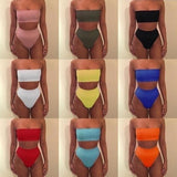 Off Shoulder Crop Top Bodycon High Waist Lingerie Set 2 Piece Outfits BG