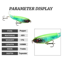 Load image into Gallery viewer, 10 colors Fishing Lure 10.5cm/17g Artificial Hard Bait 3D Eyes Popper Soft Rotating Tail Fishing Tackle