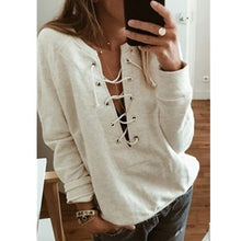 Load image into Gallery viewer, NEW Women Fashion Casual Sexy Lace Up Deep V-neck Bandage  Long Sleeve Sweatshirt Plus Size TOP
