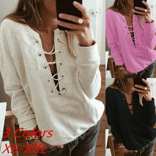 NEW Women Fashion Casual Sexy Lace Up Deep V-neck Bandage  Long Sleeve Sweatshirt Plus Size TOP