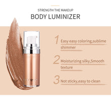 Load image into Gallery viewer, Body Luminizer Bronzer Highlighter Liquid Setting Spray Shimmer Brighten Glow Rose Gold Highlight Makeup Waterproof