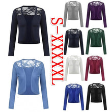 Load image into Gallery viewer, 7 Colors Womens Fashion Long Sleeve Open Front Lace Bolero Shrug Plus Size Shawl Autumn Cropped Cardigan Tops