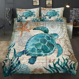Fashion Sea Turtle  Bedding Set Super Luxury Comforter Cover Floral Cool Bedding Sets Duvet Cover with Pillowcase Beds Set