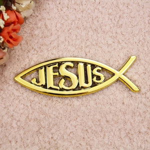 New Christian Gifts Electroplating Jesus Fish Stickers Car Stickers Stereo Waterproof Oilproof Car Stickers
