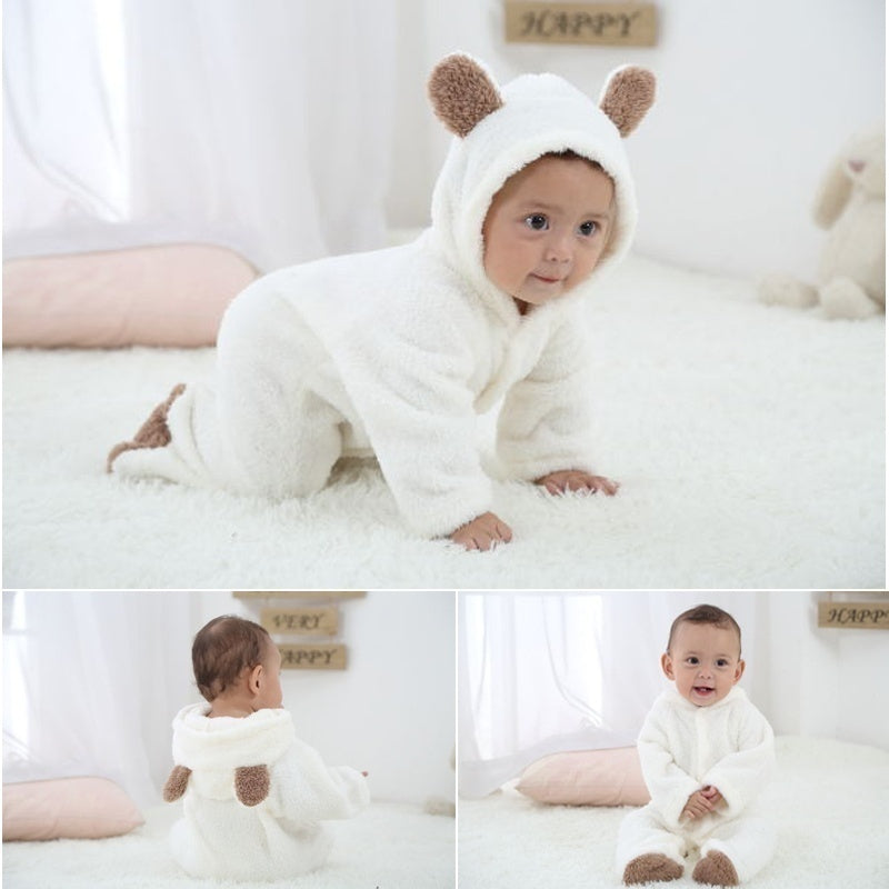 Newborn Baby Winter Soft Hoodie Clothes Cute Teddy Bear Shape Climbing Spring Outwear Warm Rompers Pajamas Baby Boys Girls Jumpsuit