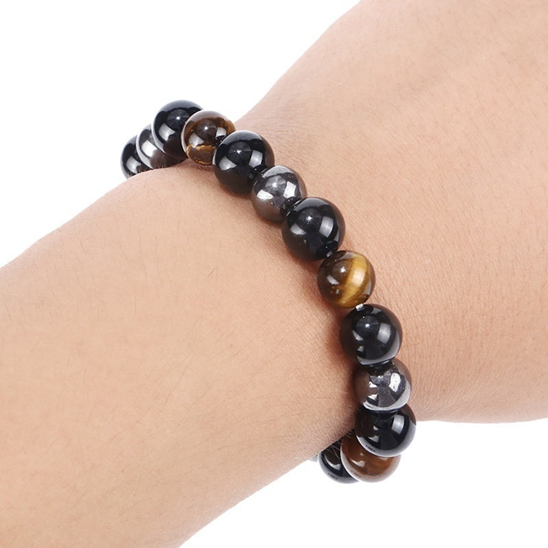 Healthcare Bracelet Tiger Eye & Hematite & Black Obsidian Stone Bead Bracelet Jewelry Gift Men Bracelet 8/10mm