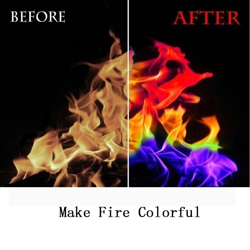 New Fashion Halloween Mystical Fire! Magical Fire Powder Fire Color Changer Rainbow Colored Flames Bonfire Camfire Fireplace Pit Patio Games Toy Festival Bar Party Supplies  Size 3/4/5/6/8 Bags