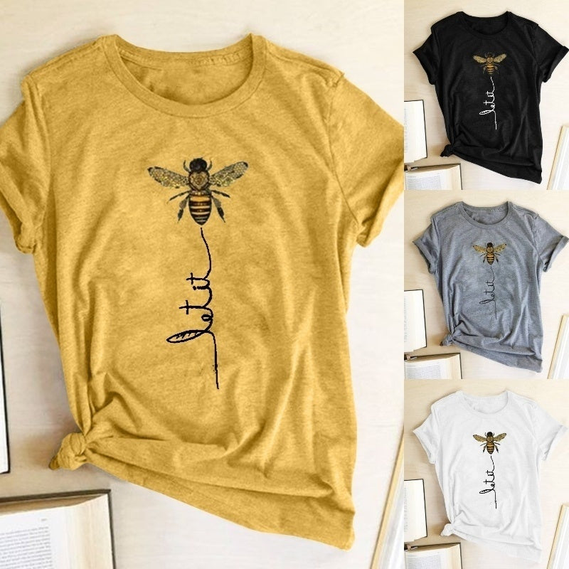 LET It Bee Letter Printed Funny Tee Tops Summer Fashion Casual Loose T-shirt Women Cotton Short Sleeve Shirts - Bee Shirts