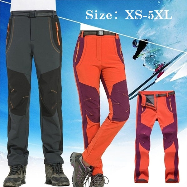 Women's Winter Outdoor Zip Off Waterproof Hiking Trousers Camping Climbing Fishing Water-Resistant Skiing Trekking Softshell Fleece Warm Pants