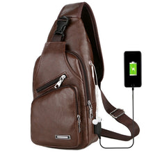 Load image into Gallery viewer, 2 Styles Chest Bag Casual Outdoor Travel USB Charging Port Sling Bag Leather Chest Bag Crossbody Bag