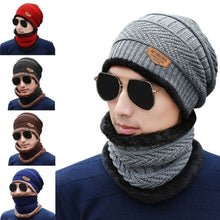 Load image into Gallery viewer, Neck Warmer Knitted Hat Scarf Set Fur Wool Lining Thick Warm Knit Beanies Balaclava Winter Hat For Men Women Cap Skullies