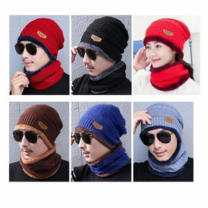 Neck Warmer Knitted Hat Scarf Set Fur Wool Lining Thick Warm Knit Beanies Balaclava Winter Hat For Men Women Cap Skullies