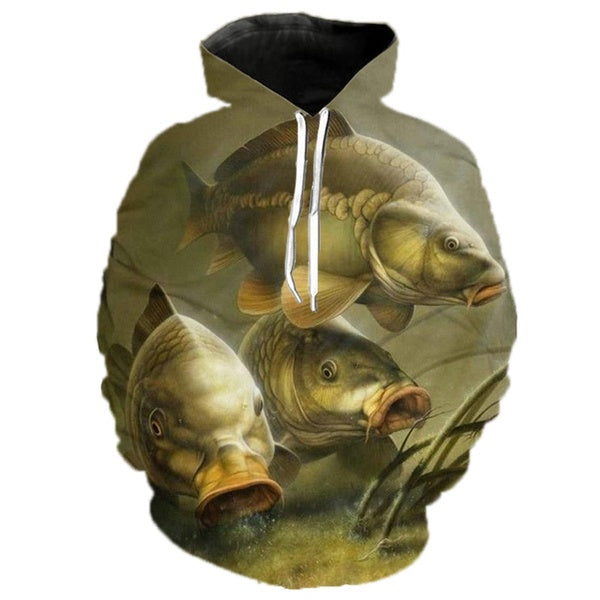 2019 New Arrival Carp Fish Print Men Women Hoodies/pullover