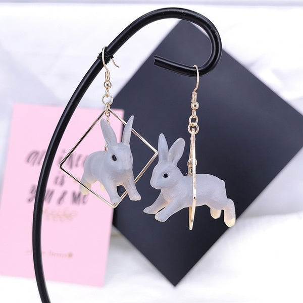 Women Lovely Rabbit Animal Geometric Square Drop Dangle Earrings Jewelry Gift Goodthink