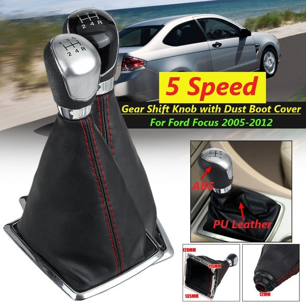 5 Speed MT Gear Stick Shift ABS Knob with PU Leather Dust Boot Cover For Ford Focus 2005-2012 MK2 2005-2008
