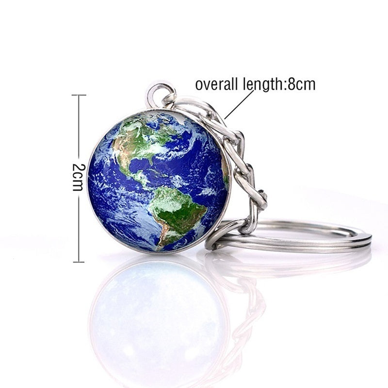 Moon Keychain Solar System Planet Keyrings Galaxy Nebula Space Keychain Earth Sun Mars Jupiter Saturn Picture Double Side Glass Ball Key Chain