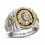 Spirit of The Warrior! 925 Sterling Silver Men Rings Two Tone 18k Yellow Gold  Ethnic Style Indian Jewelry Mens Viking Bull Stainless Steel Ring