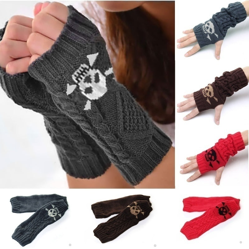 Women Fashion Knitted Arm Warmers Winter Fingerless Gloves Simple Solid Color Skull Head Pattern Soft Warm Glove