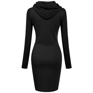 Women's Casual Hooded Dress Long Sleeve Hoodie Hooded Pullover Fashion Sweater Top (S-2XL)