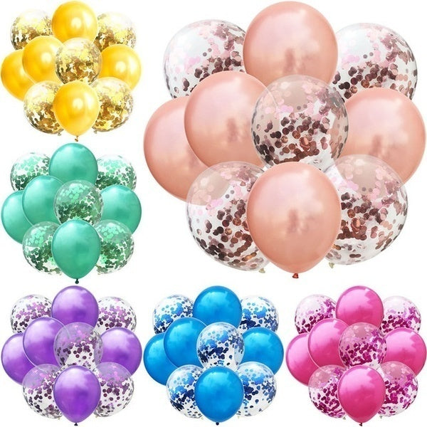 10pcs/20pcs/30pcs/40Pcs Mix Rose Gold Confetti Latex Balloon Birthday Wedding Balloons Party Decoration Air Ball Kids Adult Baby Shower Party Supplies