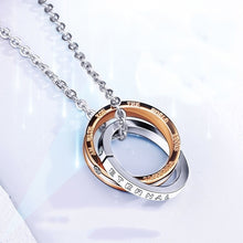 Load image into Gallery viewer, Simple Double Circle Love Diamonds Love Pendant Couple Double Ring Necklace