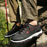Men's Hiking Shoes Casual Leather Camping Shoes Leather Outdoor Sneakers for Men 3 Colors