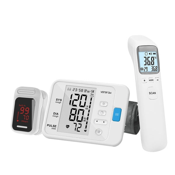 Yongrow YK-BPA6CK83L Digital Upper Arm Blood Pressure Monitor & Fingertip LED Pulse Oximeter & Non-contact Fever Thermometer Gun Infrared