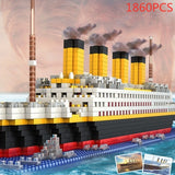 1860pcs No Match RS Titanic Cruise Ship Model Boat DIY Building Diamond Blocks Kit Children Kids Toys Christmas Gifts