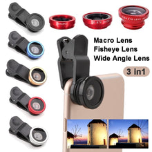 Load image into Gallery viewer, Universal 3 In1 Wide Angle Macro Fisheye Lens Camera Mobile Phone Lenses Fish Eye Lens Photographic Accessories 4 Color
