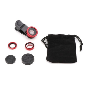 Universal 3 In1 Wide Angle Macro Fisheye Lens Camera Mobile Phone Lenses Fish Eye Lens Photographic Accessories 4 Color