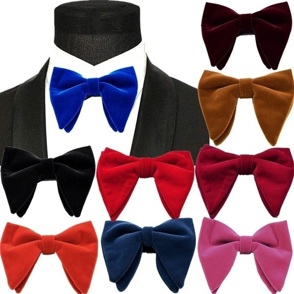 Elegant Winter Royal Blue Velvet Bow Ties Men Horn Big Bow Ties Formal Commercial Cravate clothes Gentleman Lady Accessories Bowtie Casual Wedding Halloween Christmas Thanksgiving Day Gift