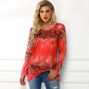 Fashion Spring and Autumn Womens Clothing Printed Round Neck Long Sleeve Tops Plus Size Casual T-shirt S-5XL