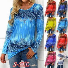 Load image into Gallery viewer, Fashion Spring and Autumn Womens Clothing Printed Round Neck Long Sleeve Tops Plus Size Casual T-shirt S-5XL