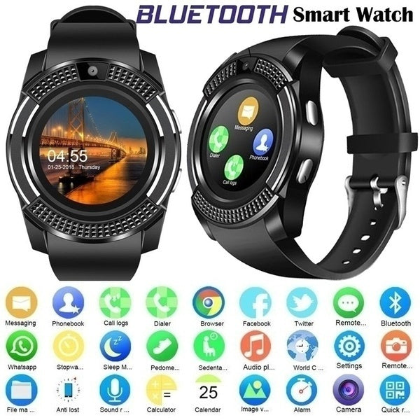 V8 Bluetooth Smart Watch Sports Fitness Tracker SD Card SIM Card Smartwatch Phone Pedometer Sleep Monitor (Not Included SIM Card&TF Card)